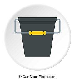 Black bucket icon circle