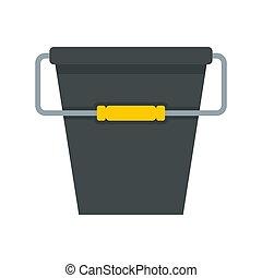 Black bucket icon, flat style