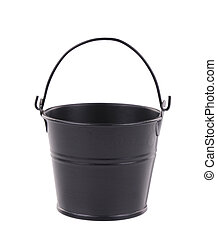 Black bucket on the white background.
