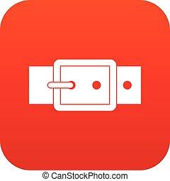 Black buckle belt icon digital red