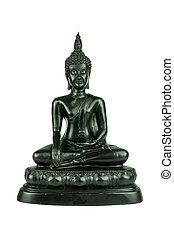 black buddha statue on white background