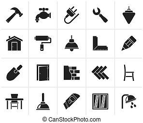 Black Building and home renovation icons - vector icon set