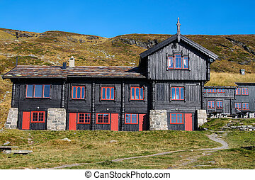 Black building in rural Norway