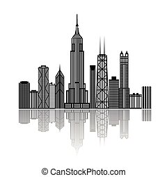 Black building silhouettes isolated on white background