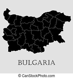 Black Bulgaria map - vector illustration