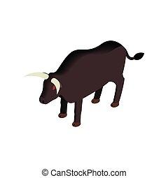 Black bull icon, isometric 3d style