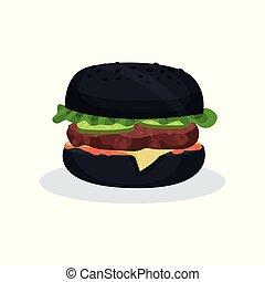 Black burger fast food vector Illustration on a white background