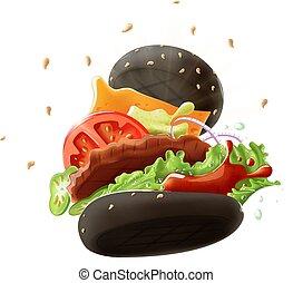 Black Burger Isolated on White Background