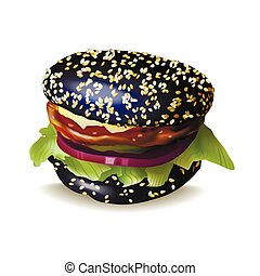 Black Burger Vector Illustration