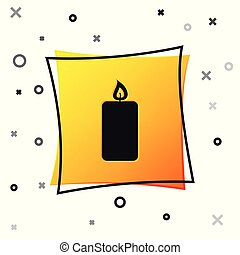 Black Burning candle icon isolated on white background. Old fashioned lit candle. Cylindrical aromatic candle stick with burning flame. Yellow square button. Vector Illustration
