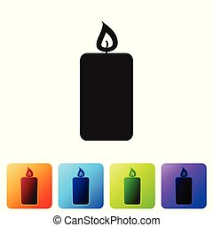 Black Burning candle icon isolated on white background. Old fashioned lit candle. Cylindrical aromatic candle stick with burning flame. Set icon in color square buttons. Vector Illustration