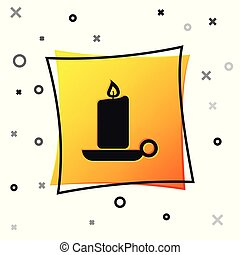 Black Burning candle in candlestick icon isolated on white background. Old fashioned lit candle. Cylindrical aromatic candle stick with burning flame. Yellow square button. Vector Illustration