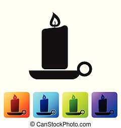 Black Burning candle in candlestick icon on white background. Old fashioned lit candle. Cylindrical aromatic candle stick with burning flame. Set icon in color square buttons. Vector Illustration