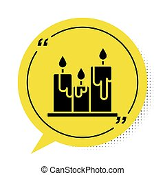 Black Burning candles icon isolated on white background. Cylindrical candle stick with burning flame. Yellow speech bubble symbol. Vector Illustration