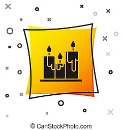 Black Burning candles icon isolated on white background. Cylindrical candle stick with burning flame. Yellow square button. Vector Illustration