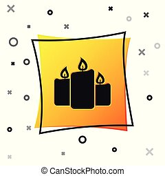 Black Burning candles icon isolated on white background. Old fashioned lit candles. Cylindrical aromatic candle sticks with burning flames. Yellow square button. Vector Illustration