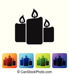 Black Burning candles icon isolated on white background. Old fashioned lit candles. Cylindrical aromatic candle sticks with burning flames. Set icon in color square buttons. Vector Illustration