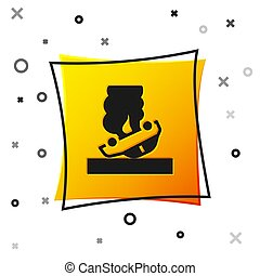 Black Burning car icon isolated on white background. Car on fire. Broken auto covered with fire and smoke. Yellow square button. Vector