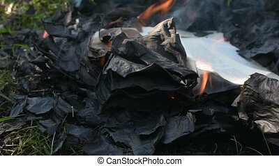 Black burnt paper in the fire with smoke. Burning book on the ground.