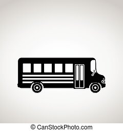 Black bus icon. Vector illustration.