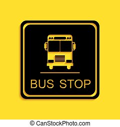 Black Bus stop icon isolated on yellow background. Long shadow style. Vector