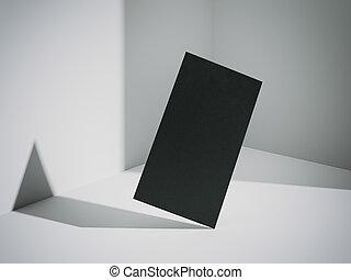 Black business card flying. 3d rendering