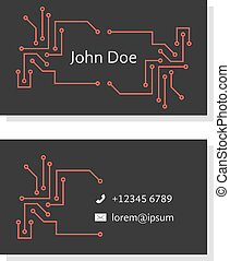 black business card with pcb elements. concept of system...
