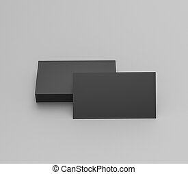 Black business cards blank mockup - template. 3d rendering