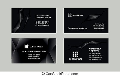 Black business cards set. Abstract polygonal style background for personal business card.