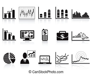 black business charts icon - some business charts icon set...