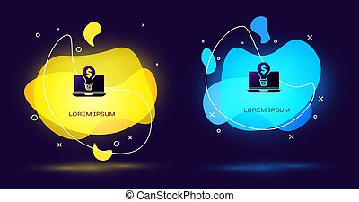 Black Business light bulb with dollar on laptop screen icon isolated on black background. User touch screen. Abstract banner with liquid shapes. Vector