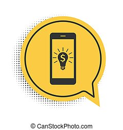 Black Business light bulb with dollar on smartphone screen icon isolated on white background. User touch screen. Yellow speech bubble symbol. Vector