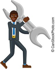 Black Business Man Holding Spanner Wrench Mascot