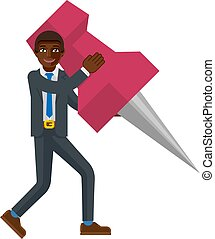 A black businessman cartoon character mascot man holding a big thumb tack map drawing pin business concept