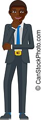 Black Business Man Thinking Mascot Concept