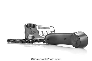 Black business phone on white background