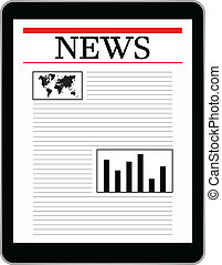 Business Tablet Showing World News - Black Business Tablet...