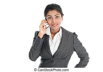 Black business woman using smart phone