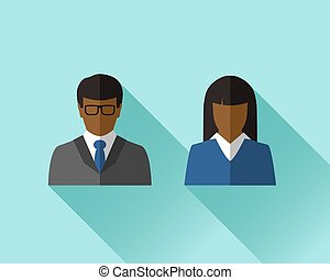 Black businessman and businesswoman in flat design