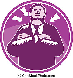 Black Businessman Bouncer Arms Folded Woodcut - Illustration...