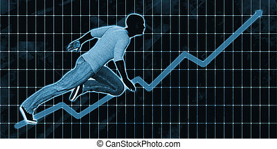 Black Businessman Charging Ahead on Blue Background