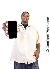 Black Businessman Holding a Cell Phone - Isolated Black...