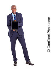 black businessman holding tablet computer