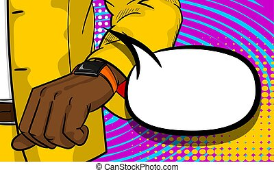 Black businessman looking at watch pop art
