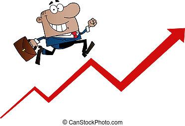 Black Businessman Running Upwards