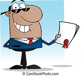 Black Businessman Showing Contract