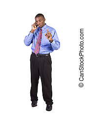 Black Businessman talking on a cell phone - Isolated Black...