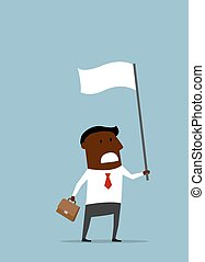 Black businessman with a white flag
