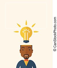 Black businessman with bulb on his head.