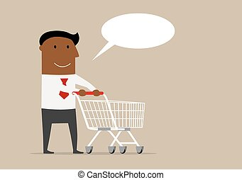 Black businessman with cart and speech bubble
